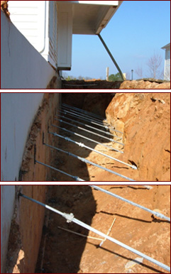 Bowed basement wall Atlanta, Bowing wall repair Atlanta